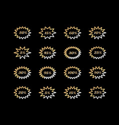 set of golden star badge design on black vector image