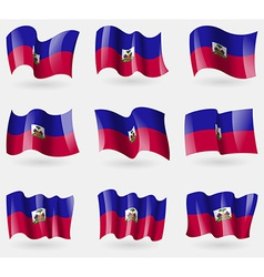 Set of Haiti flags in the air vector