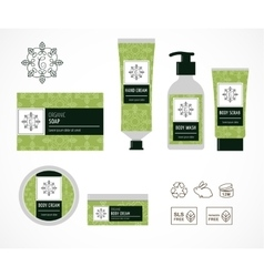 Set of natural cosmetics design packaging icons vector image
