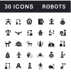 Set simple icons robot vector