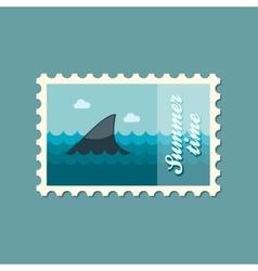Shark fin flat stamp summertime vector image