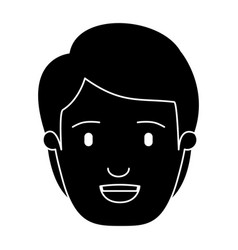 Silhouette black front view face man with vector