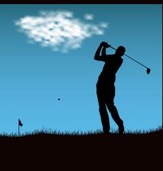 Silhouette golf player after firing ball vector