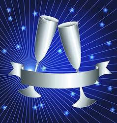 Silver cups and ribbon banner vector image vector image