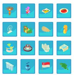 singapore icon blue app vector image