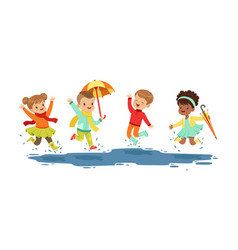 Smiling little kids jumping in a puddle in rainy vector
