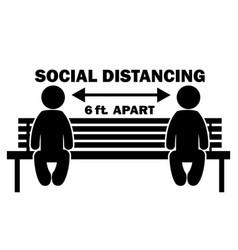 Social distancing 6ft apart stick figure on bench vector