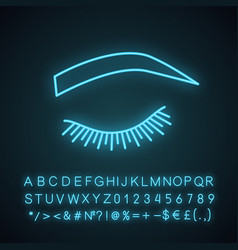 Soft arched eyebrow shape neon light icon vector