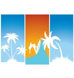Summer banners with palm trees and surfer vector
