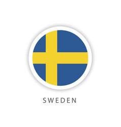 Sweden circle flag template design vector