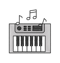 Synth console with notes vector
