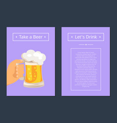 take beer and let s drink set of posters with text vector image