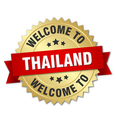 Thailand 3d gold badge with red ribbon vector