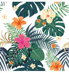 tropical pattern seamless white background vector image
