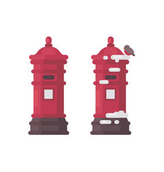 Two red vintage mailboxes with snow old postboxes vector