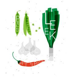 vegetable set peas leek garlic hot pepper vector image