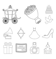 wedding and attributes outline icons in set vector image