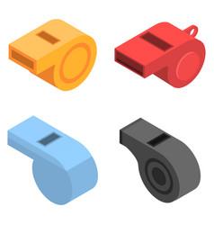 Whistle icon set isometric style vector