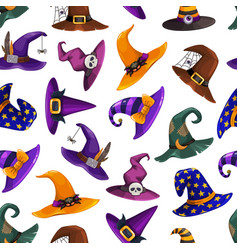 Witch hats seamless halloween pattern vector