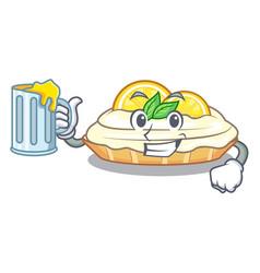 with juice cartoon piece of yummy lemon meringue vector image