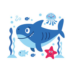 With sea animals shark star fish vector
