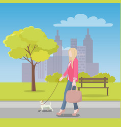 Woman walks with little dog in park near city vector