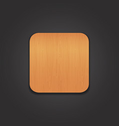 Wooden app icon on the black background vector