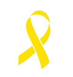 Yellow ribbon world childhood cancer awareness vector