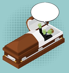 Zombies in coffin in pop art style Green dead man vector