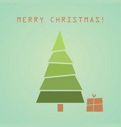 christmas tree with gift christmas card vector image vector image