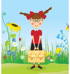 Girl with briefcase on the lawn vector image vector image