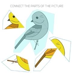 Puzzle game for chldren yellowhammer bird vector