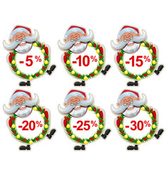 set discount label santa claus christmas wreath of vector image vector image
