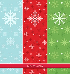 Snow Flakes Set Three Colors Background vector image