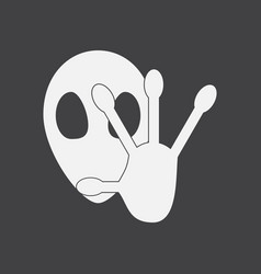 White icon on black background alien and hand vector
