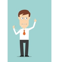 Businessman sewed up his mouth vector image vector image