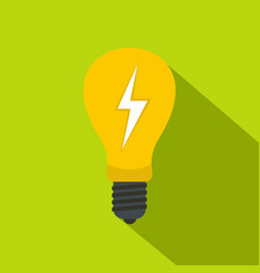 light bulb with lightning inside icon flat style vector image vector image
