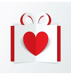 Red paper heart in gift box Valentines day card vector image vector image