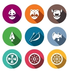 Set of Viking Weapons Icons Head Man vector image