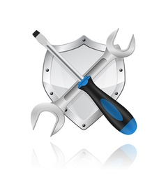 wrench screwdriver and shield vector image