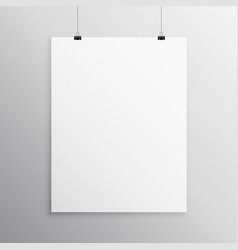 blank flyer mockup template hanging with clip vector image vector image