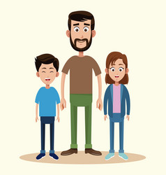 father with daughter and son together vector image