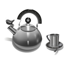 iron kettle with a whistle and metal mug vector image