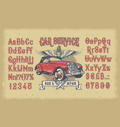 latin alphabet with numbers and retro car vector image vector image