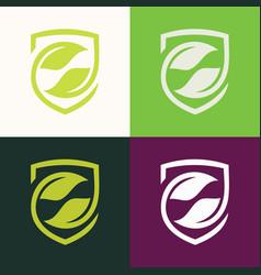 shield green leaf logo vector image