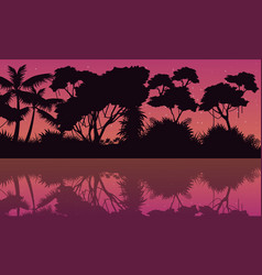 Tree with reflection on the jungle scenery vector