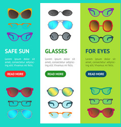 cartoon glasses and sunglasses banner vecrtical vector image