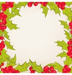 Christmas frame border with mistletoe holly berry vector image