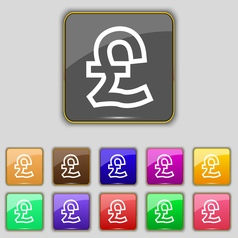 Pound Sterling icon sign Set with eleven colored vector image