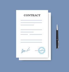 signed paper deal contract icon agreement and pen vector image vector image